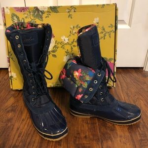 Joules navy/floral Woodhurst duck boots